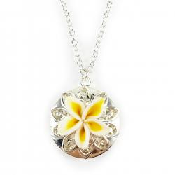 Plumeria Locket Necklace