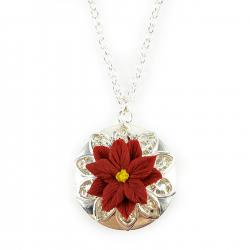Red Poinsettia Silver Locket