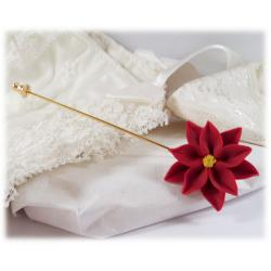 Red Poinsettia Stick Pin