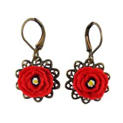 Red Poppy Vintage Style Dangle Earrings