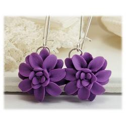 Purple Dahlia Drop Earrings