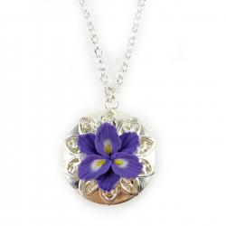 Purple Freesia Silver Locket Necklace