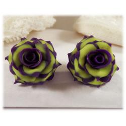 Green Purple Rose Earrings
