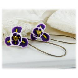 Purple Iris Drop Earrings