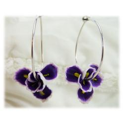 Purple Iris Hoop Earrings