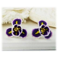 Purple Iris Flower Stud Earrings