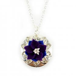 Purple Larkspur Silver Locket Necklace