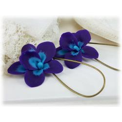 Purple Orchid Drop Earrings