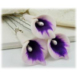 Purple Picasso Calla Lily Hair Pin