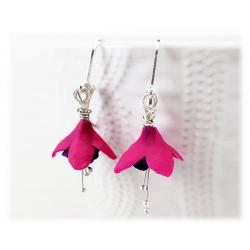 Purple Pink Fuchsia Flower Earrings