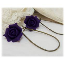 Purple Rosebud Drop Earrings