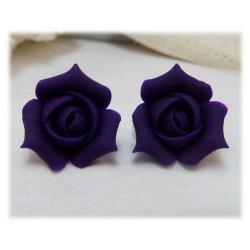 Purple Rosebud Stud Earrings