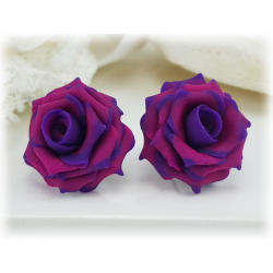 Purple Tipped Pink Rose Earring Studs