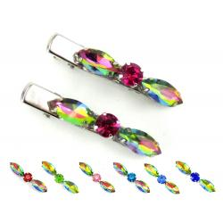 Iridescent Rainbow Rhinestone Hair Clips