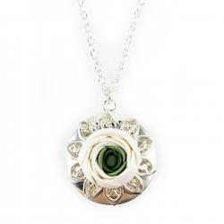 Ranunculus Silver Locket Necklace