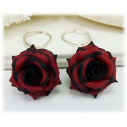 Black Tipped Red Rose Earrings