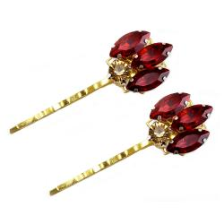 Red Bordeaux Champagne Rhinestone Bobby Pins