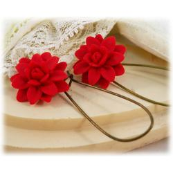Red Dahlia Drop Earrings
