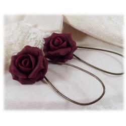 Red Garnet Rose Drop Earrings