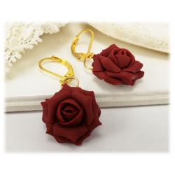 Red Maroon Rose Drop Earrings