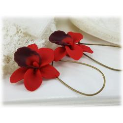 Red Orchid Drop Earrings