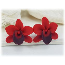 Red Orchid Stud Earrings