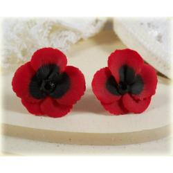 Red Black Crystal Pansy Stud Earrings