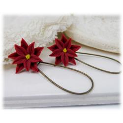Red Poinsettia Drop Earrings