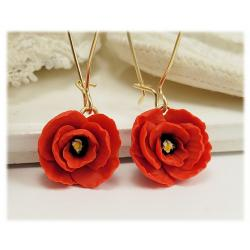 Red Poppies Dangle Earrings