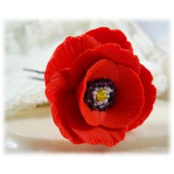 Red Poppy Hair Pin