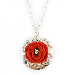Red Poppy Silver Tone Locket Necklace