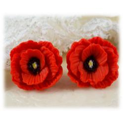 Red Poppies Post Earrings