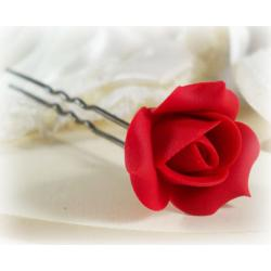 Red Rosebud Hair Pins