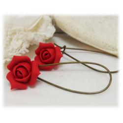 Red Rosebud  Drop Earrings