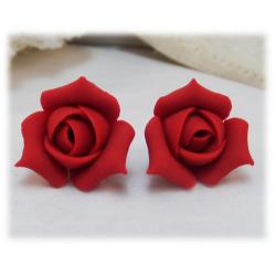 Red Rosebud Stud Earrings
