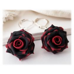 Red Tipped Black Rose Drop Dangle Earrings