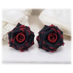 Red Tipped Black Rose Stud Earrings