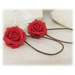Red Tomato Rose Drop Earrings