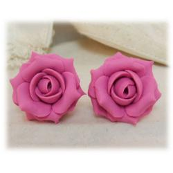 Pink Petal Rose Stud Earrings