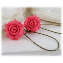 Pink Salmon Rose Drop Earrings