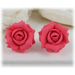 Pink Salmon Rose Stud Earrings