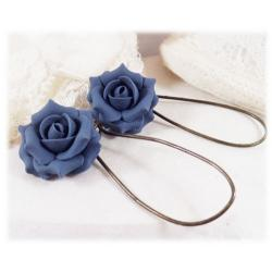 Blue Sapphire Rose  Drop Earrings