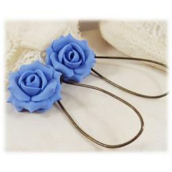 Blue Sapphire Lt Rose Drop Earrings