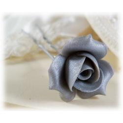 Metallic Silver Rosebud Hair Pins