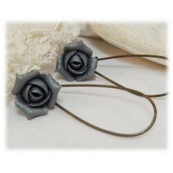 Metallic Silver Rosebud Drop Earrings