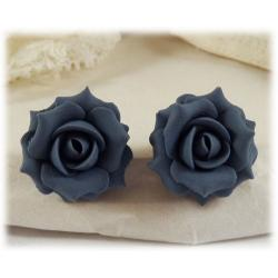 Smokey Blue Rose Stud Earrings