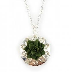 Green Succulent Silver Locket Necklace
