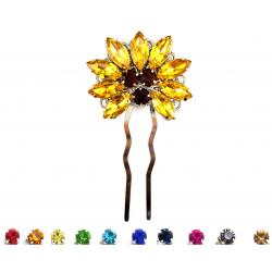 Sunflower Rhinestone Hair Fork