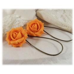 Orange Tangerine Rose Drop Earrings