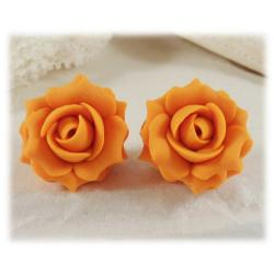 Orange Tangerine Rose Stud Earrings
